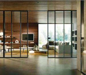 szklana ścianka przesuwna loftowa