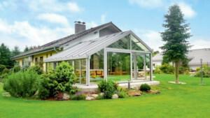 altana z aluminium i szkła ogród zimowy