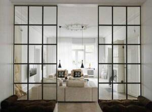 Ścianka szklana ze szprosami rozsówana industrialna loftowa