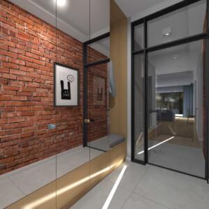 ścianka wąska industrialna z drzwiami