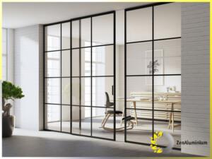 ścianka loftowa do sypialni, salonu lub łazienki w stylu loftowym z drzwiami przesuwnymi